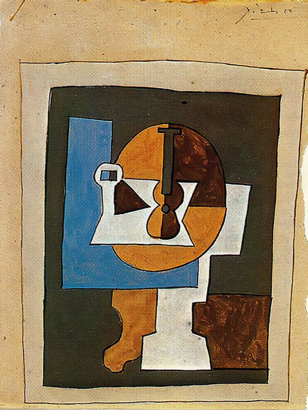 Bowl Of Fruit And Guitar by Picasso Print