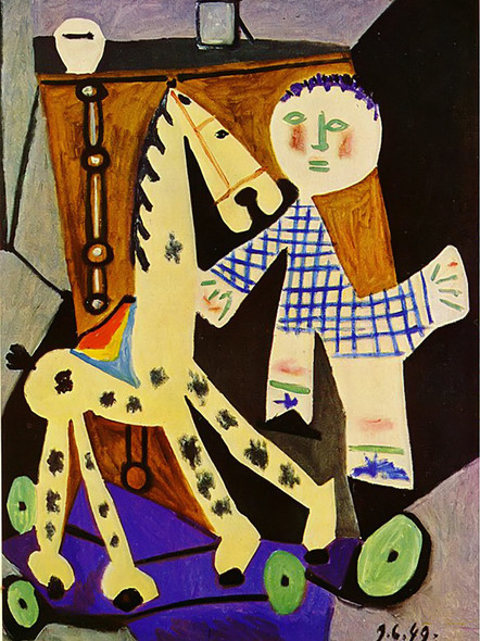 Claude Two Years Old And His Hobby Horse by Picasso Print