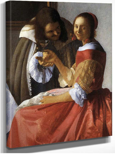 A Lady And Two Gentlemen Detail By Vermeer Johannes