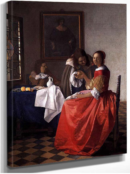 A Lady And Two Gentlemen By Vermeer Johannes