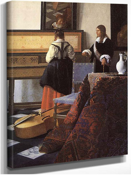 A Lady At The Virginals With A Gentleman Detail By Vermeer Johannes