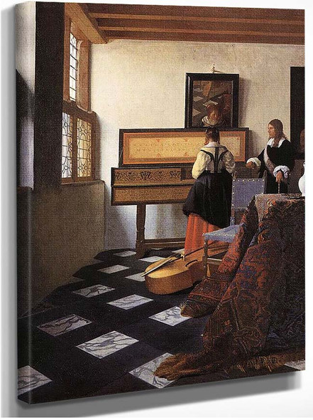 A Lady At The Virginals With A Gentleman By Vermeer Johannes
