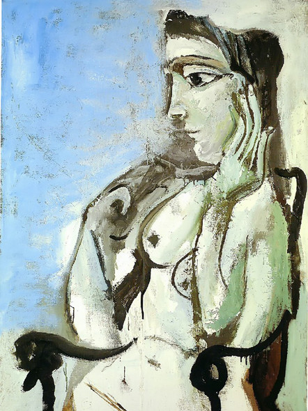 Female Nude Sitting In The Armchair by Picasso Print