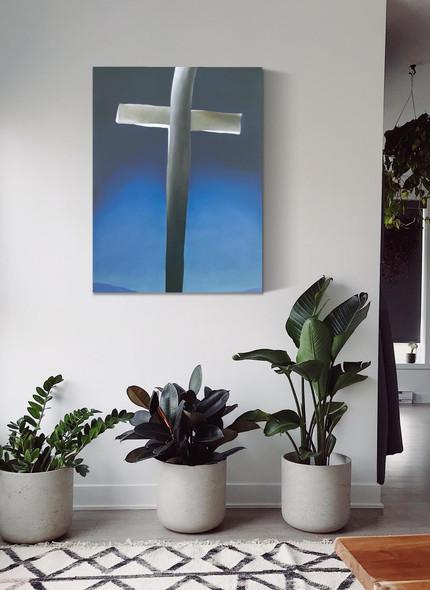 Grey Cross With Blue by Georgia O Keeffe