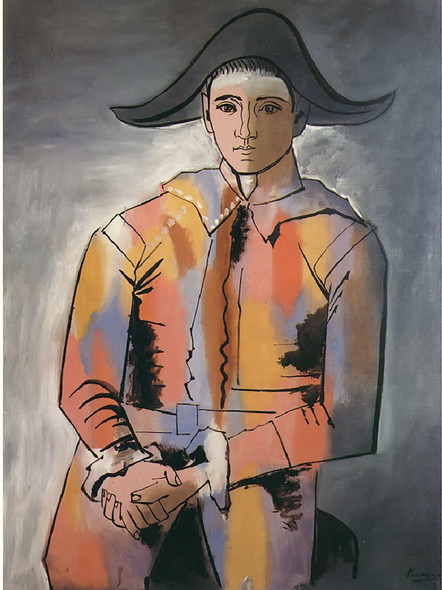 Harlequin With His Hands Crossed (Jacinto Salvado) by Picasso Print
