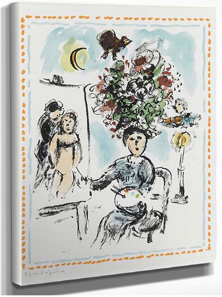 A Painer With Chandelier 1984 By Marc Chagall