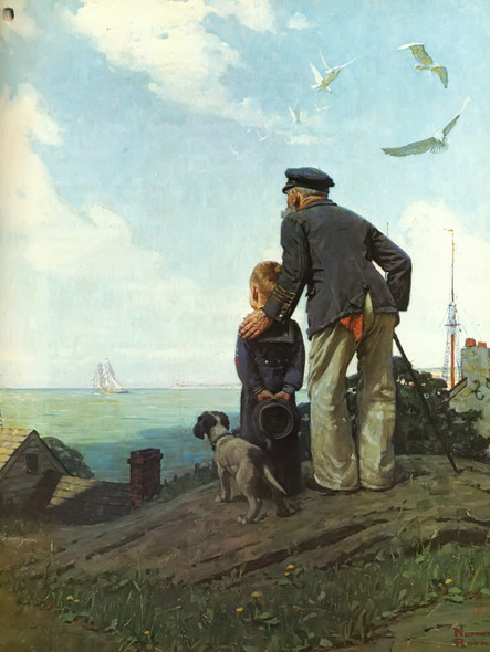 Looking Out To Sea by Norman Rockwell Print