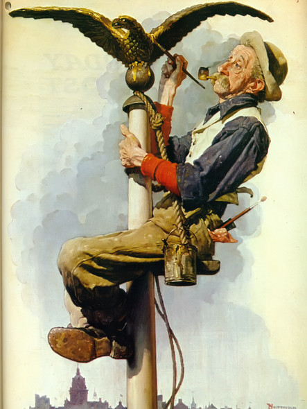Man Painting Flagpole by Norman Rockwell Print