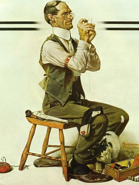 Man Threading A Needle by Norman Rockwell Print