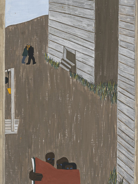 Migration Panel 20 In Many Of The Communities The Negro Press Was Read Continually Because Of Its Attitude And Its Encouragement Of The Movement by Jacob Lawrence Print