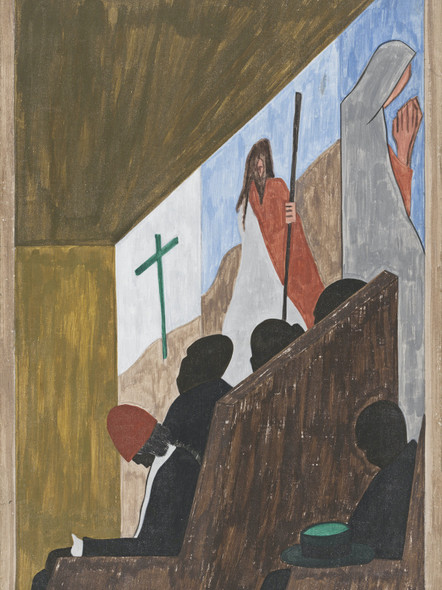 Migration Panel 54 One Of The Main Forms Of Social And Recreational Activities In Which The Migrants Indulged Occurred In The Church by Jacob Lawrence Print