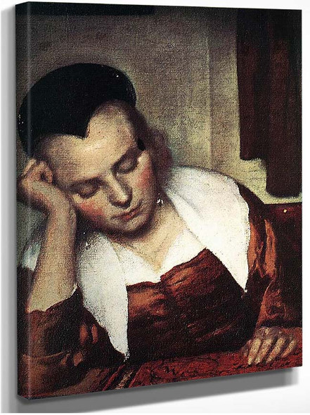 A Woman Asleep At Table Detail By Vermeer Johannes