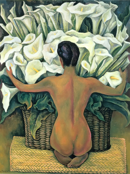 Nude With Calla Lilies by Diego Rivera Print