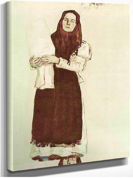 A Young Peasant Woman In A Red Scarf 1910 By Konstantin Yuon
