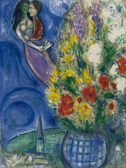 Pair Of Lovers And Flowers 1949 by Marc Chagall Print