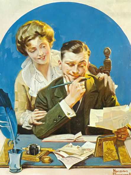 Paying The Bills by Norman Rockwell Print