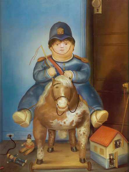 Pedro On A Wooden Horse by Botero Print