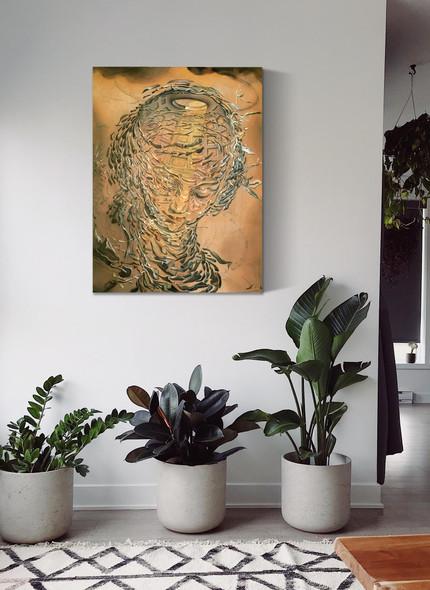 Raphaelite Head Bursting2 by Dali