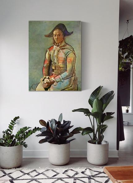 Seated Harlequin (Jacinto Salvado) 130x97 by Picasso