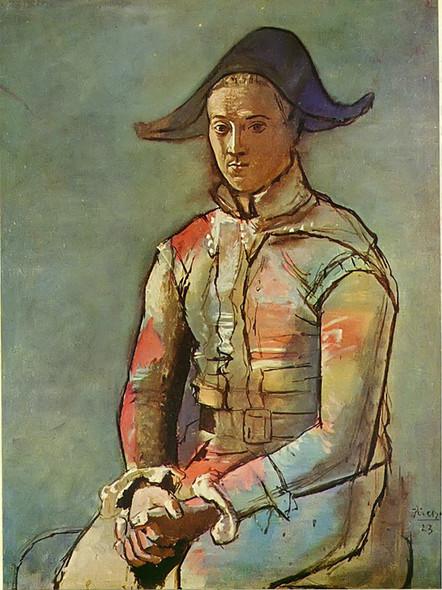 Seated Harlequin (Jacinto Salvado) 130x97 by Picasso Print