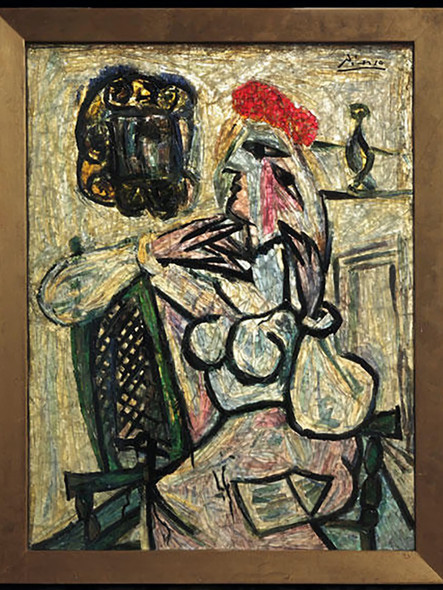 Seated Woman With Red Hat by Picasso Print