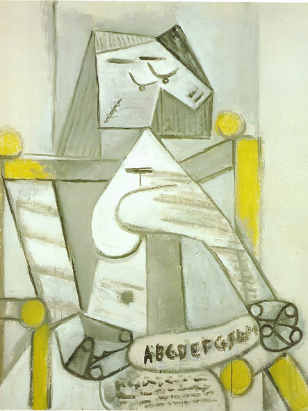 Seated Woman With Spelling Book by Picasso Print