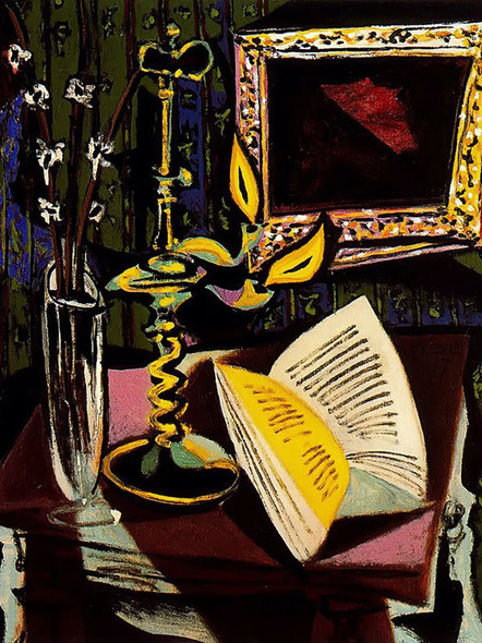 Still Life With Candlestick 64x53 by Picasso Print