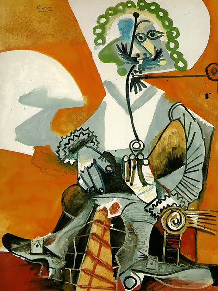 The Man With A Pipe 162x130 by Picasso Print