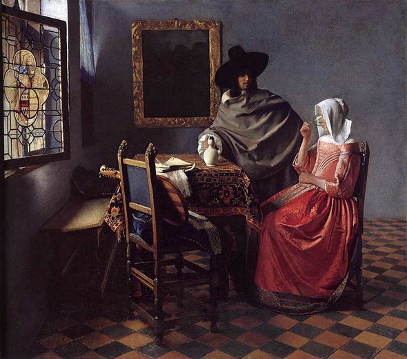 A Lady Drinking And A Gentleman By Vermeer Johannes Art Reproduction from Wanford.