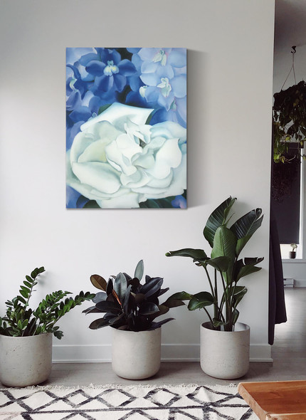 White Rose With Larkspur No 1 by Georgia O Keeffe
