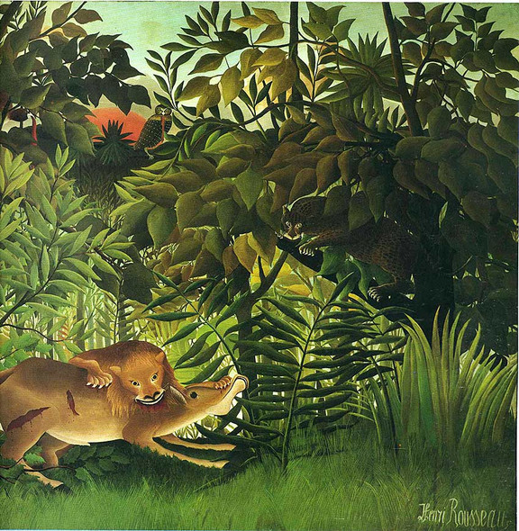 A Lion Devouring Its Prey 1905 By Henri Rousseau Art Reproduction from Wanford.