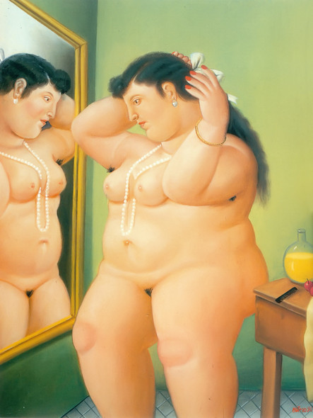 Woman In Front Of A Mirror by Botero Print