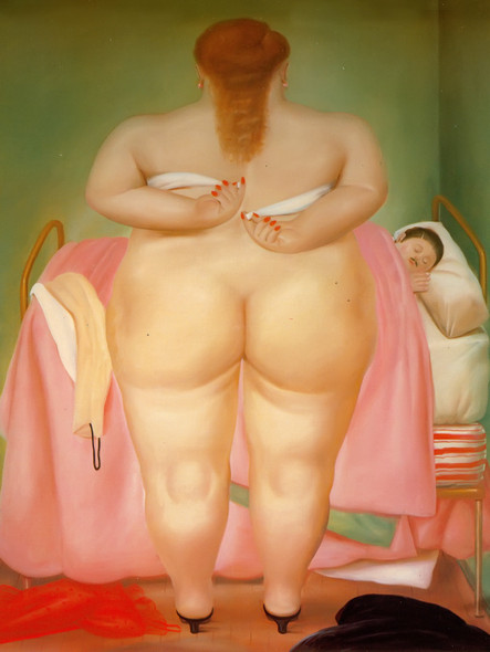 Woman Putting On Her Brassiere by Botero Print