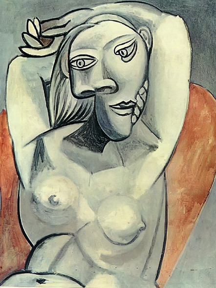 Woman Sitting In Red Armchair by Picasso Print