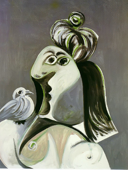Woman With Bird 100x81 by Picasso Print