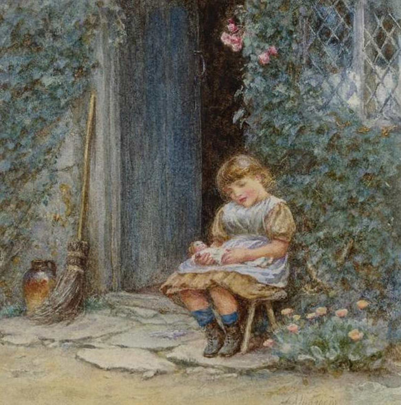 A Little Girl With Puppet By Helen Allingham Art Reproduction from Wanford.