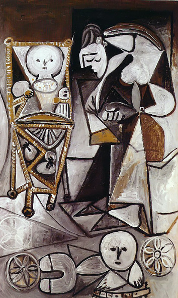Drawing Woman Surrounded By Her Children by Picasso Print