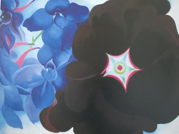 Black Hollyhock Blue Larkspur by Georgia O Keeffe Print