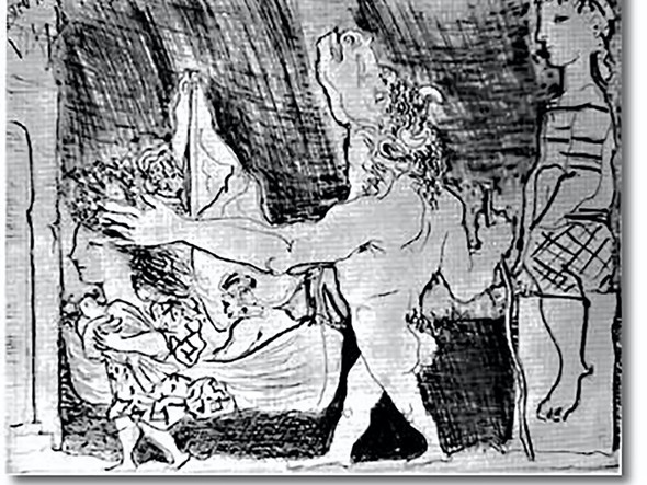 Blind Minotaur Is Guided By Girl 34x44 National Gallery Of Australia Canberra Australia by Picasso Print