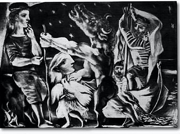Blind Minotaur Is Guided By Girl Through The Night Blanton Museum Of Art Austin Texas by Picasso Print