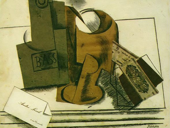 Bottle Of Bass Glass And Package Of Tobacco by Picasso Print