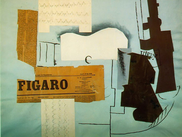 Bottle Of Vieux Marc Glass Guitar And Newspaper 46x62 Tate Gallery London Uk by Picasso Print