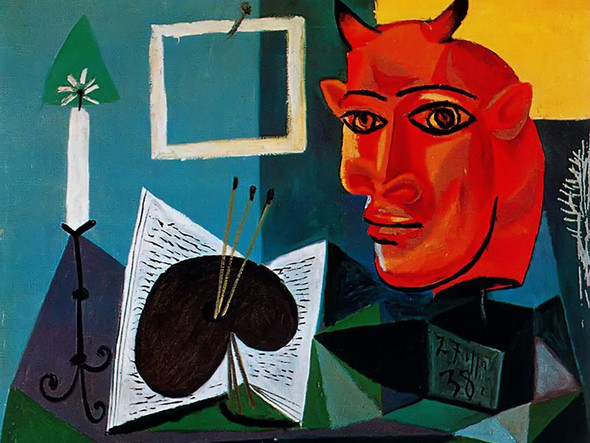 Candle Palette Head Of Red Bull1 by Picasso Print
