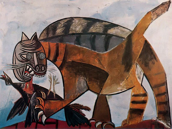 Cat Eating A Bird by Picasso Print