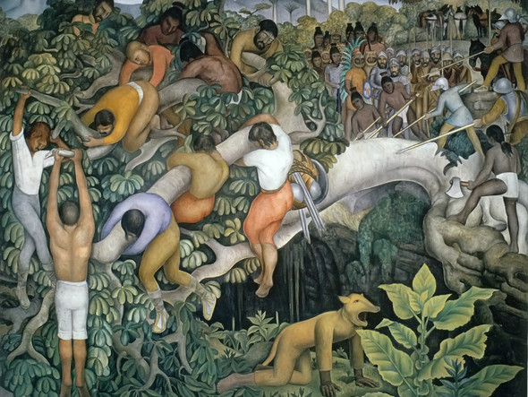 Crossing The Gorge by Diego Rivera Print