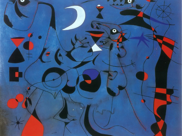 Figures At Night Guided By Thr Phosphorescent Tracks Of Snails 1940 by Joan Miro Print