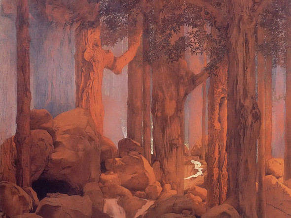 Forest Scene From Once Upon A Time by Maxfield Parrish Print