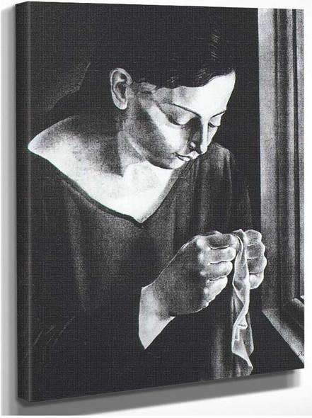 Ana Maria Sewing By Salvador Dali