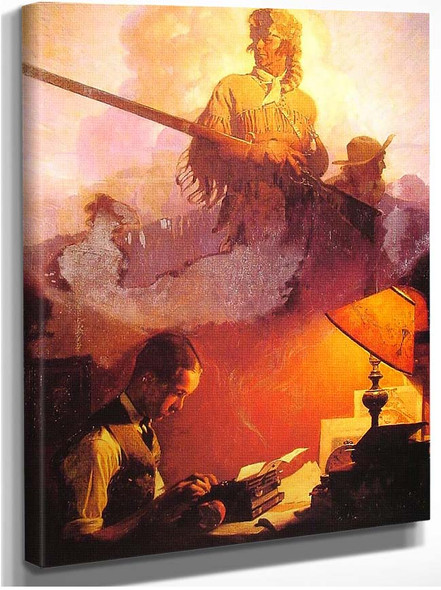 And Daniel Boone Comes To Life On The Underwood Portable 1923 By Norman Rockwell