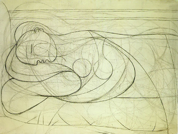 Lying Female Nude 97x133 by Picasso Print